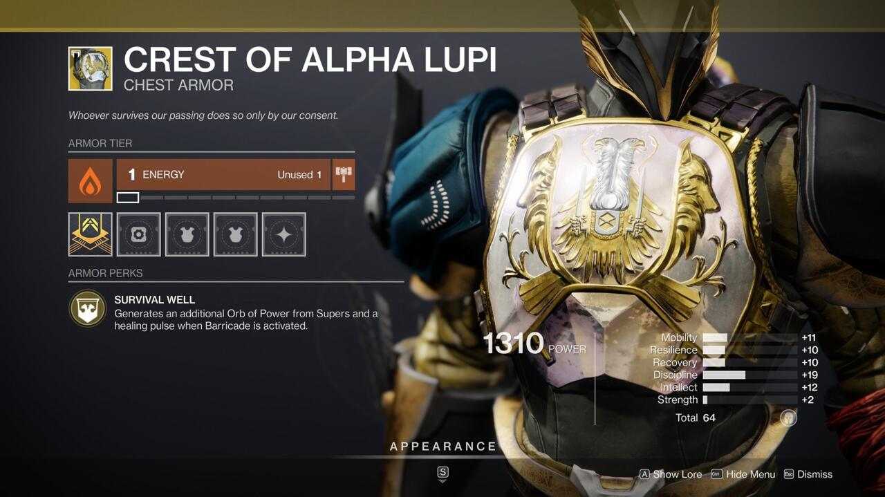 Make your barricades more protective with the Crest of Alpha Lupi. Your barricades heal teammates and your Supers generate additional Orbs of Power when you're using the Exotic.