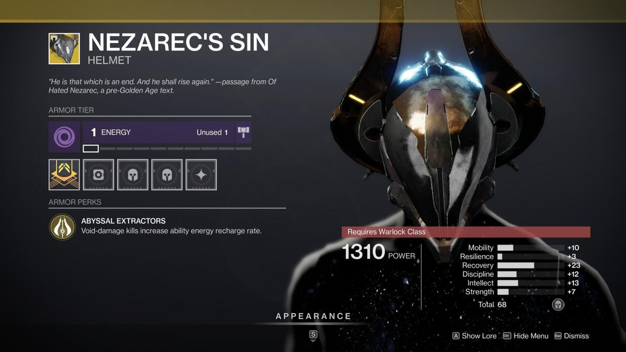 Nezarec's Sin is already very useful, thanks to the fact that your Void abilities are charged faster for every Void kill you earn. On top of that, this high-stat roll is absolutely worth buying.