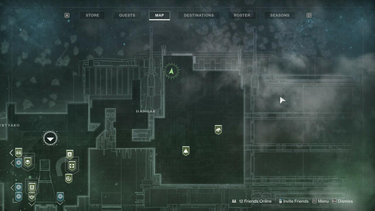Look for Xur near the edge of the Hangar, past the locations for the Future War Cult and Dead Orbit factions.