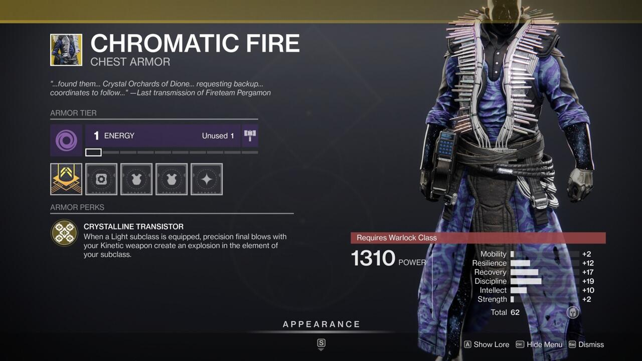 Add more explosions to your arsenal with Chromatic Fire, which essentially gives Dragonfly to all your Kinetic weapons.