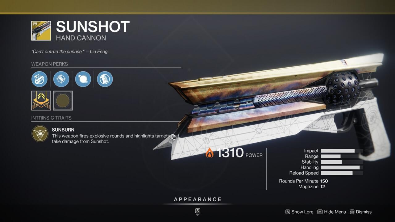 Sunshot's explosive rounds can rip through enemies in PvE, and it's a reliable hand cannon in PvP scenarios, too.