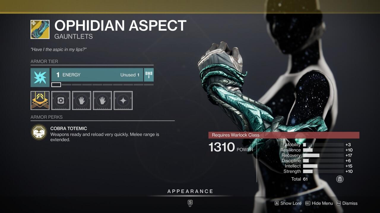 If your Warlock build doesn't require a different Exotic, this is a great default one for its useful bonuses to weapon ready and reload speed.