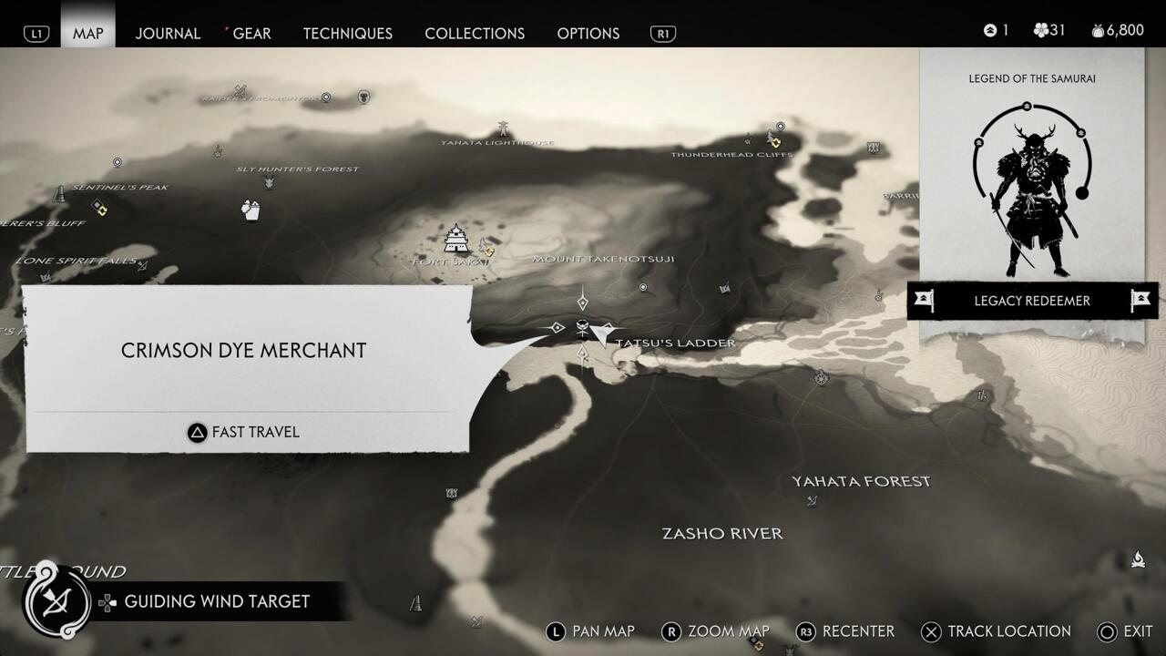 La posizione del Mercante di colorante cremisi apparirà sulla tua mappa dopo aver completato un corso di duello nel Rifugio di Fune.
