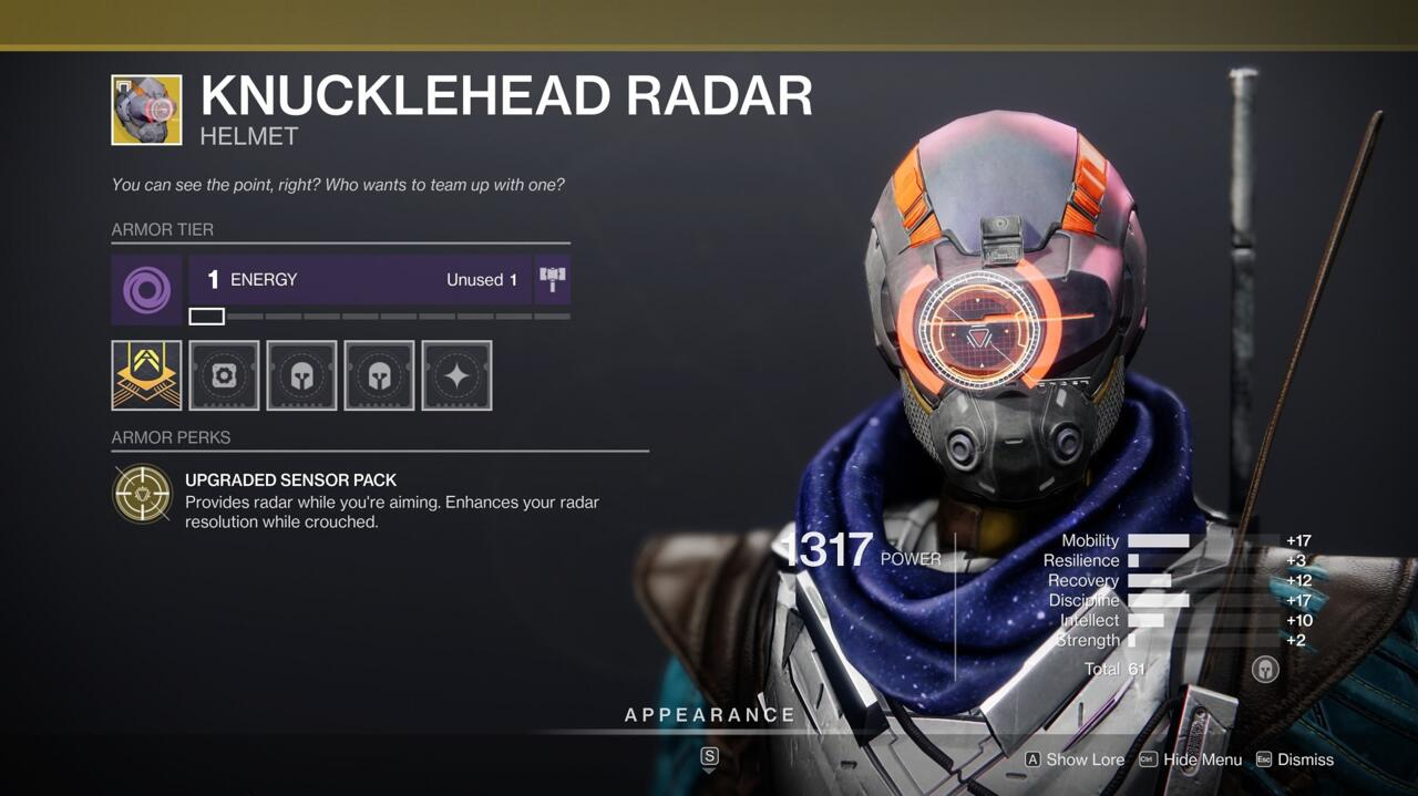Knucklehead Radar is a good go-to PvP Exotic when your Hunter build doesn't require something more specific.