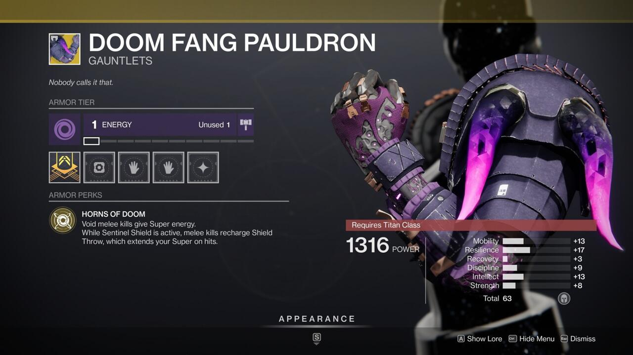 Punch your way to more Supers with Doom Fang Pauldron, which gives you more Super energy and extends your Super duration with Void melee kills.