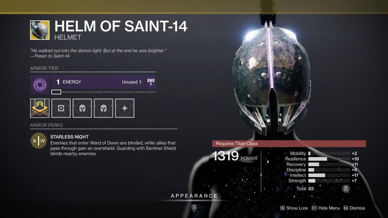 Having Helm of Saint-14 in PvE situations with a lot of tough enemies can make surviving the onslaught a lot easier.