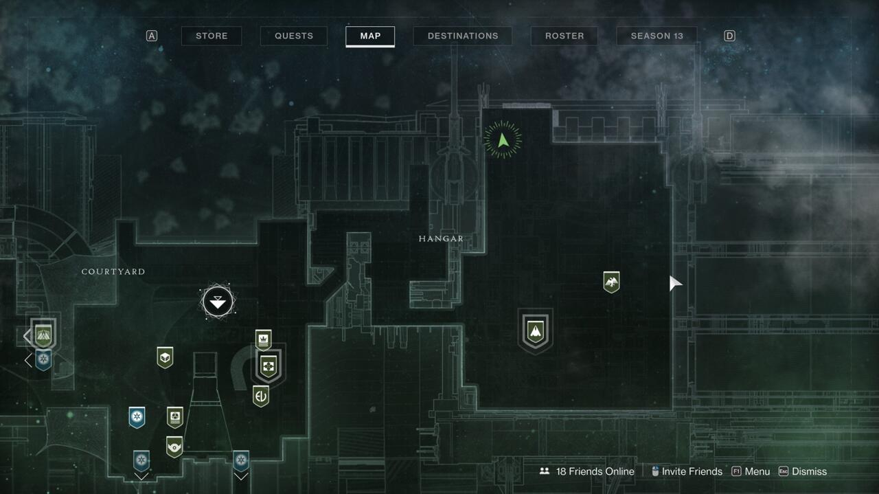 Look for Xur at the north end of the Tower's Hangar area, up on the catwalk.