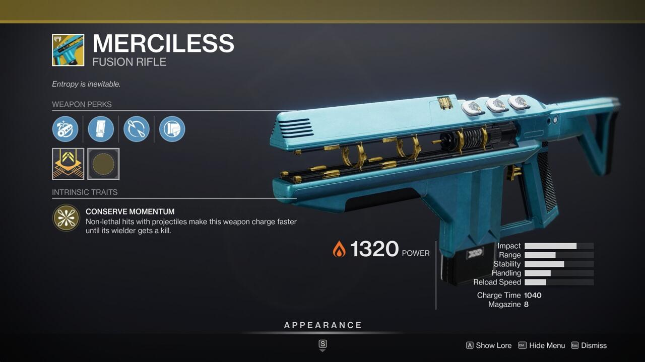 With the boosts to fusion rifles this season, Merciless can be great at dealing a ton of damage to bosses and tough PvE enemies.