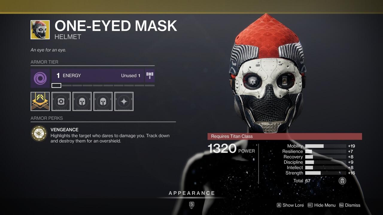 Grab this One-Eyed Mask for a great stat roll.
