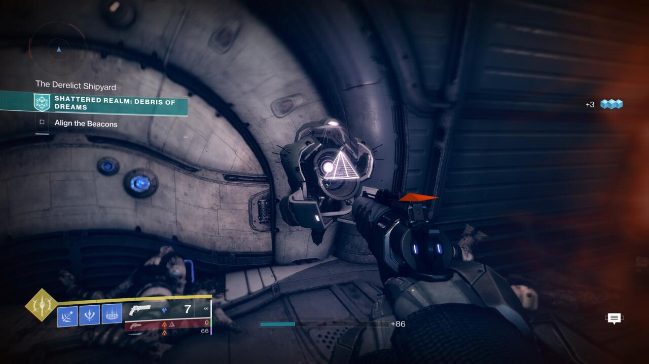 From the second beacon, jump back to the round platform with the pillar in the middle that contains an opening.  Go inside, climb to the top of the shaft, and open the door just behind it where the scorn are playing around.