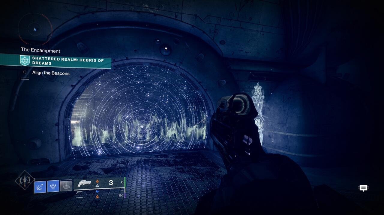 Go through the barrier door and follow the path until you get outside, past the laser trip mines.  Outside, follow the cliff path to the right until you reach a True Sight marker.