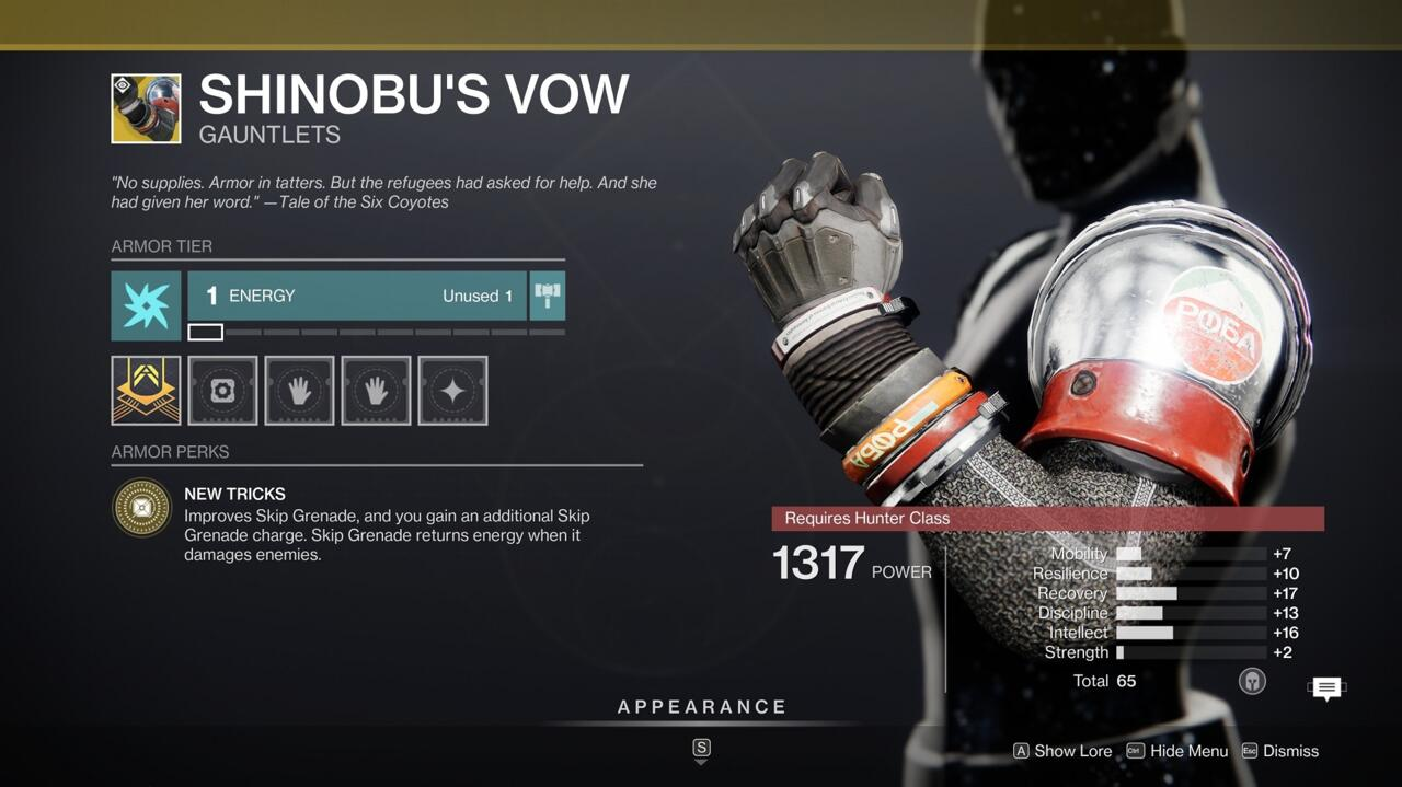 Get better skip grenades more often with Shinobu's Vow--you might want to try taking those into the Trials of Osiris this weekend.