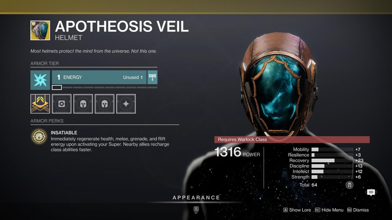 For Warlock builds with high Intellect, Apotheosis Veil can be great, charging all your abilities whenever you pop your Super and giving your teammates a boost as well.