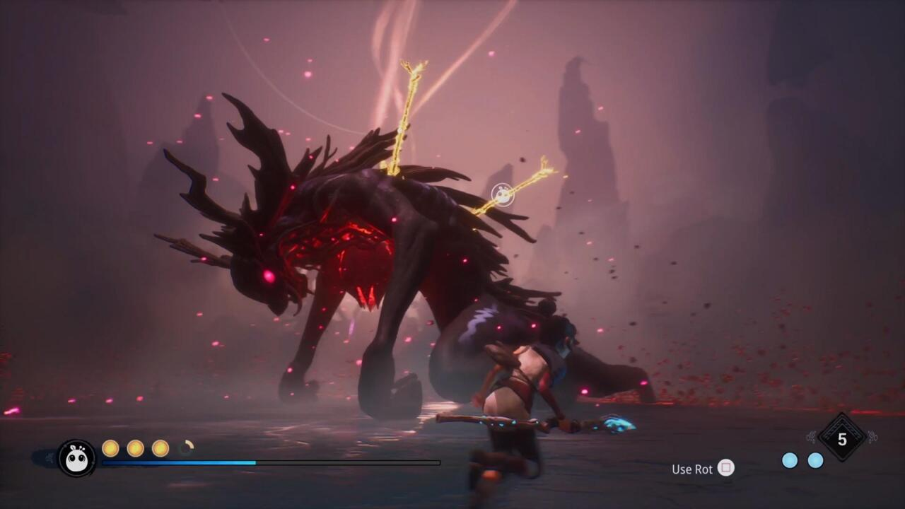 In the final phase, you'll need to use the Rot to pull the spears out of the boss in order to do damage and finish the fight.