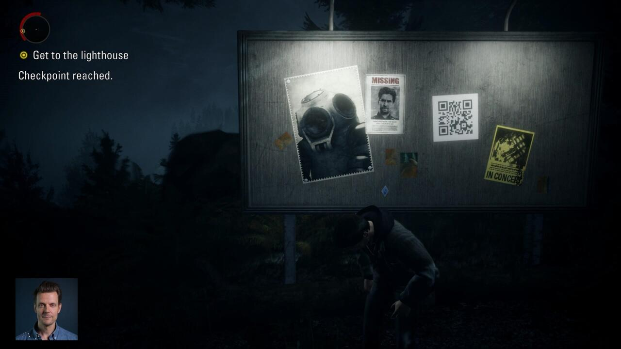 You'll run right past the first QR code as you make your way toward the lighthouse early in Episode 1.