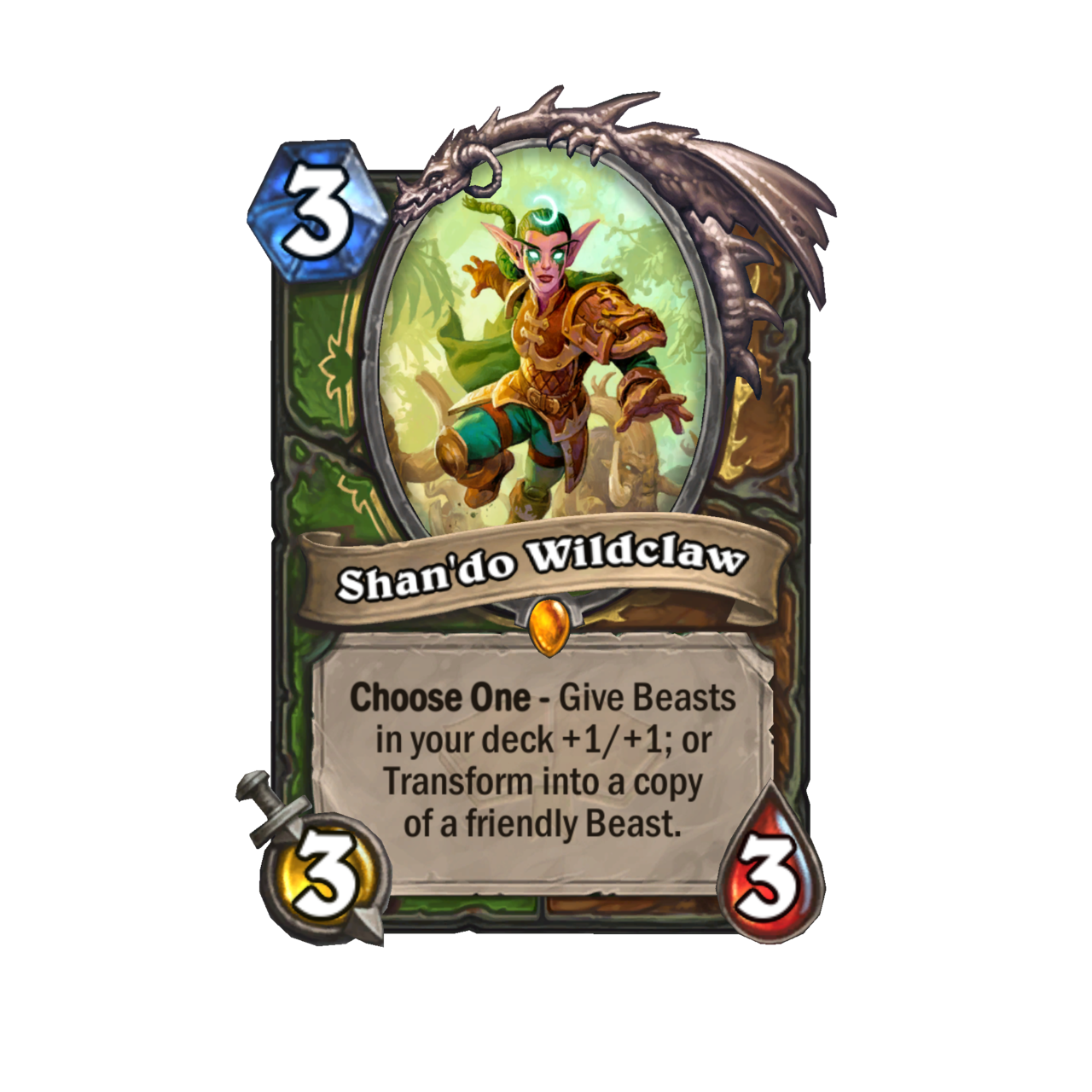 Druid-Hunter Legendary dual-class card toys with beasts