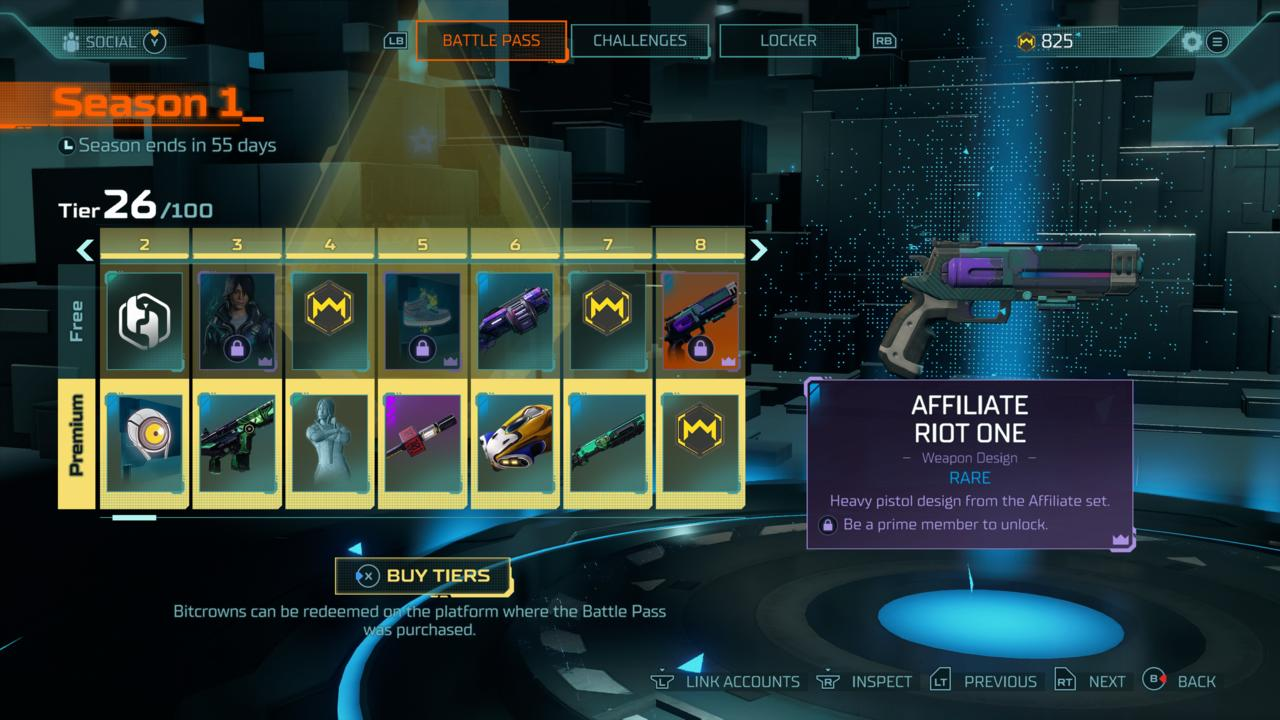 Certain rewards on the free battle pass track will only unlock if you have Prime Gaming.