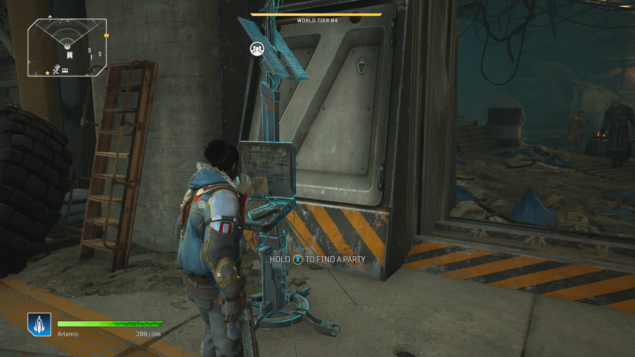 The matchmaking terminal is located in Rift Town's garage, just past the hub's assortment of venders.
