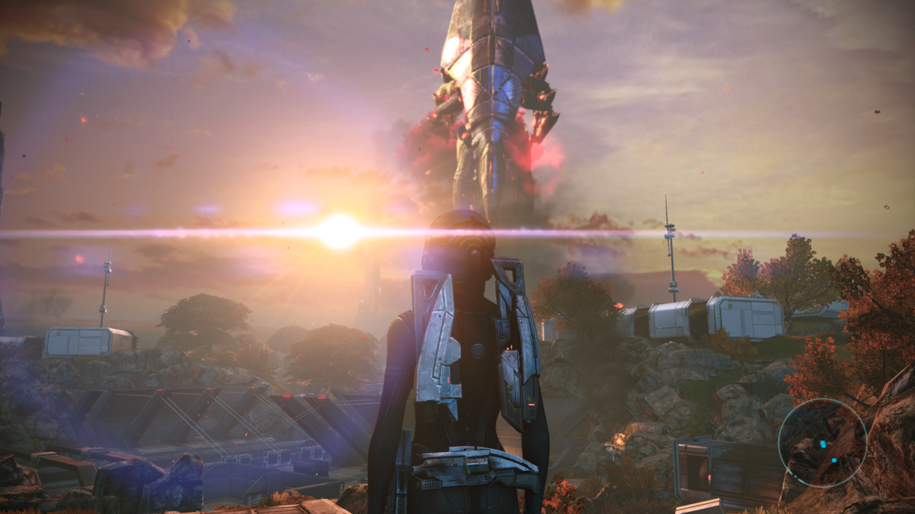 The way Saren's ship darkens the sunny sky with plumes of red and black smoke is so disturbingly eerie--what a way to begin Shepard's adventure.