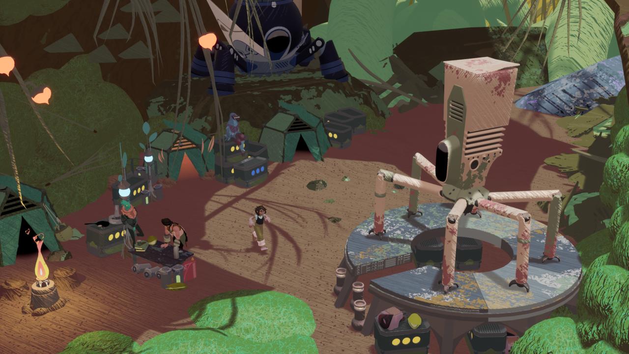 Quando ela retornar ao acampamento, Annika pode falar com os membros da Acorn Corp e atualizar seu mech.