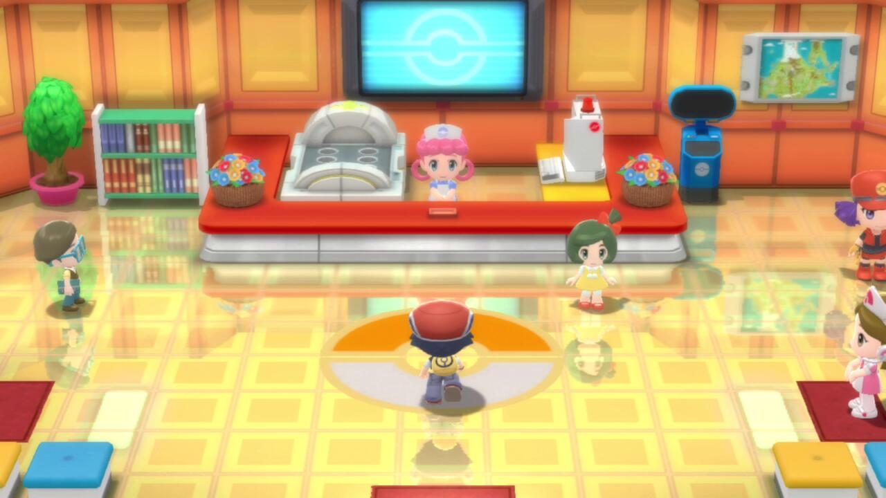 Like in the old games, Pokemon Centers and Poke Marts are two separate buildings.