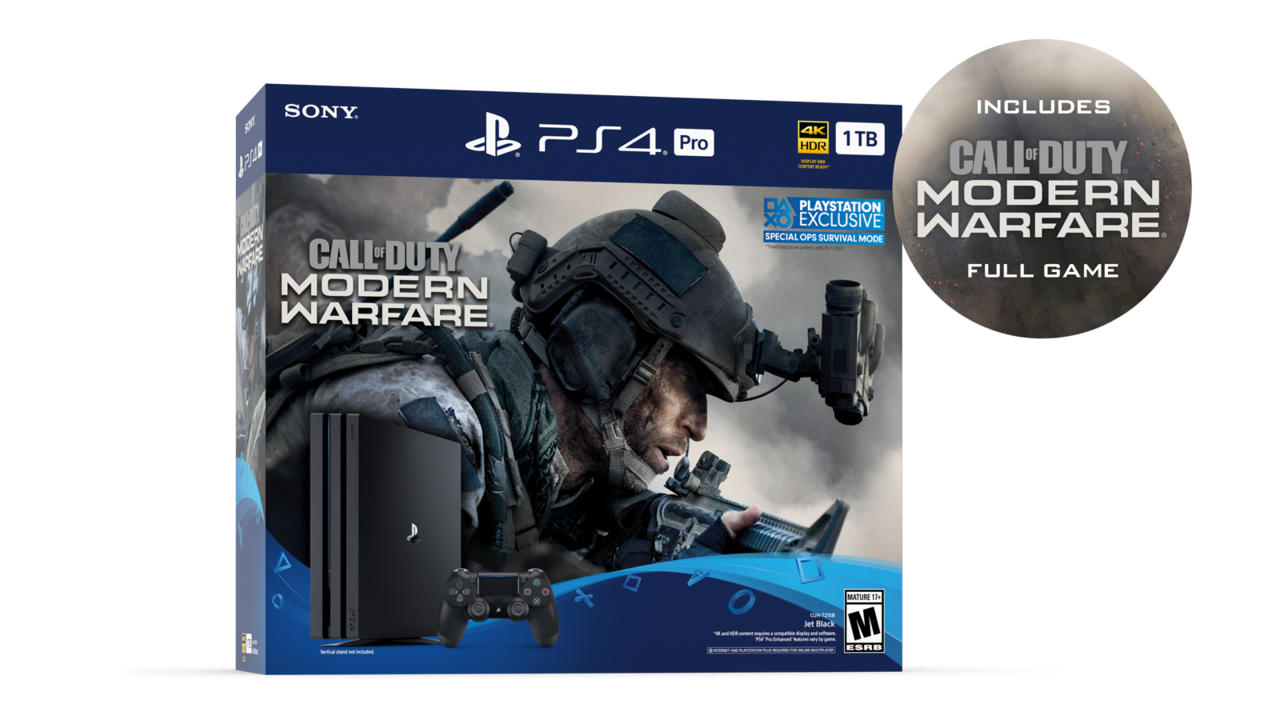 PS4 Pro (1TB) with Call of Duty: Modern Warfare   $349