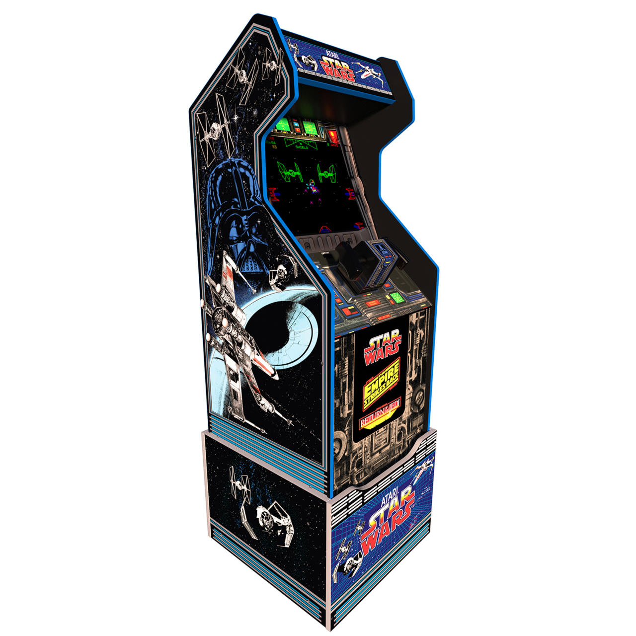 The Arcade1Up Star Wars arcade cabinet features three classic games.