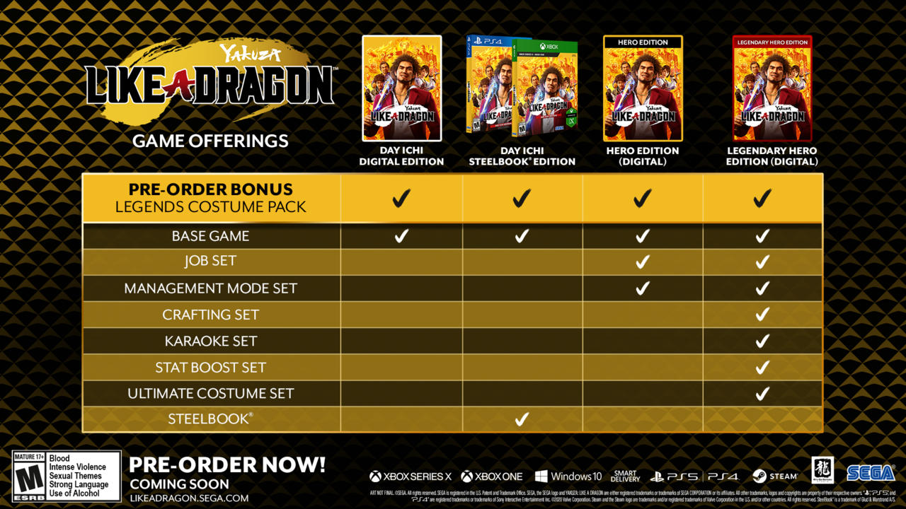 Yakuza: Like a Dragon preorder bonuses