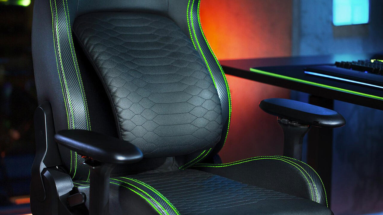 The Razer Iskur's built-in lumbar curve can be angled up to 26 degrees.