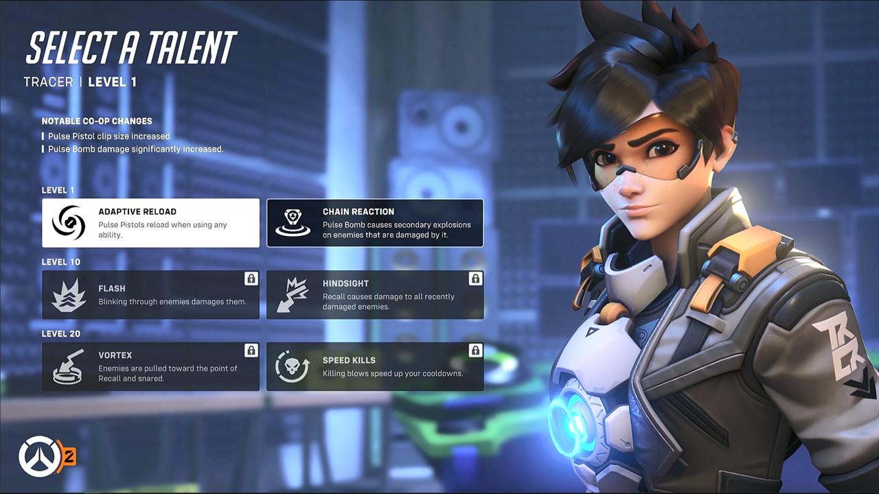 Unlockable Talents for Tracer, part of Overwatch 2's new PvE-exclusive progression system.