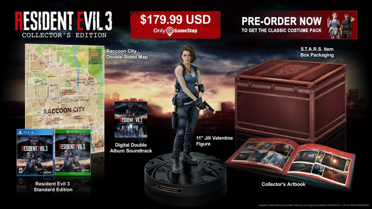 Resident Evil 3 Collector's Edition, which comes with a Jill statue, a hardcover artbook, and more.