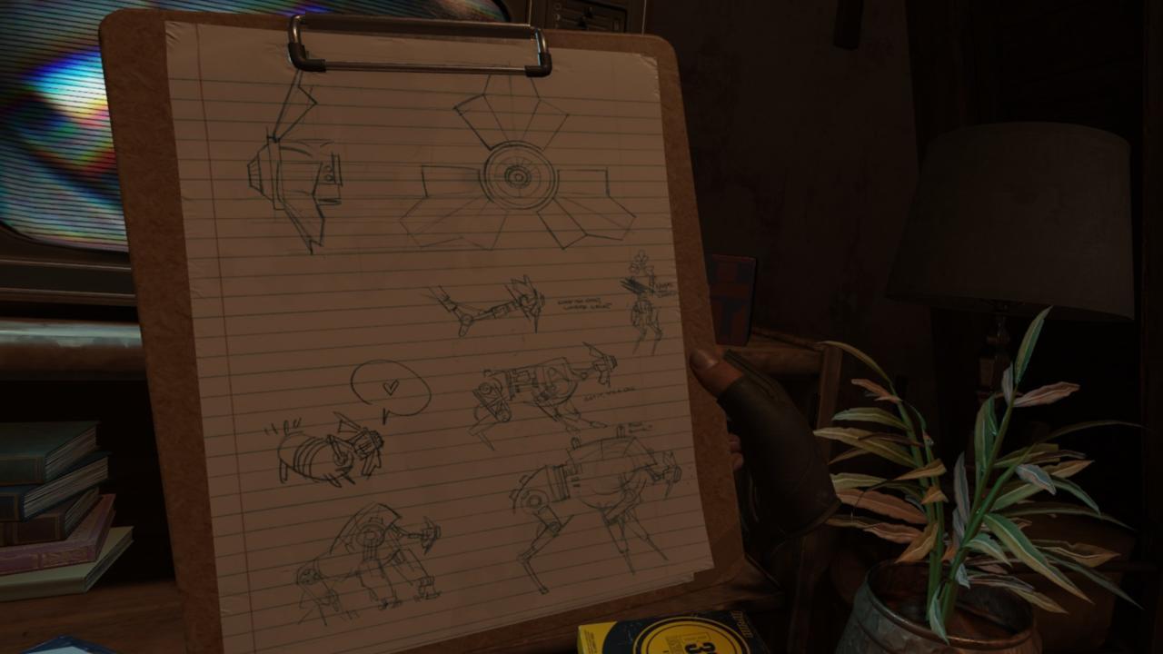 Dog prototype sketches in Alyx's base.