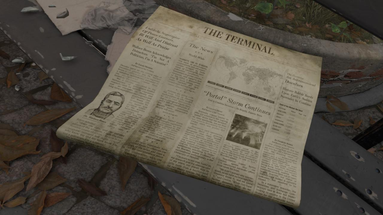 A newspaper with articles on Dr. Breen and portal storms.