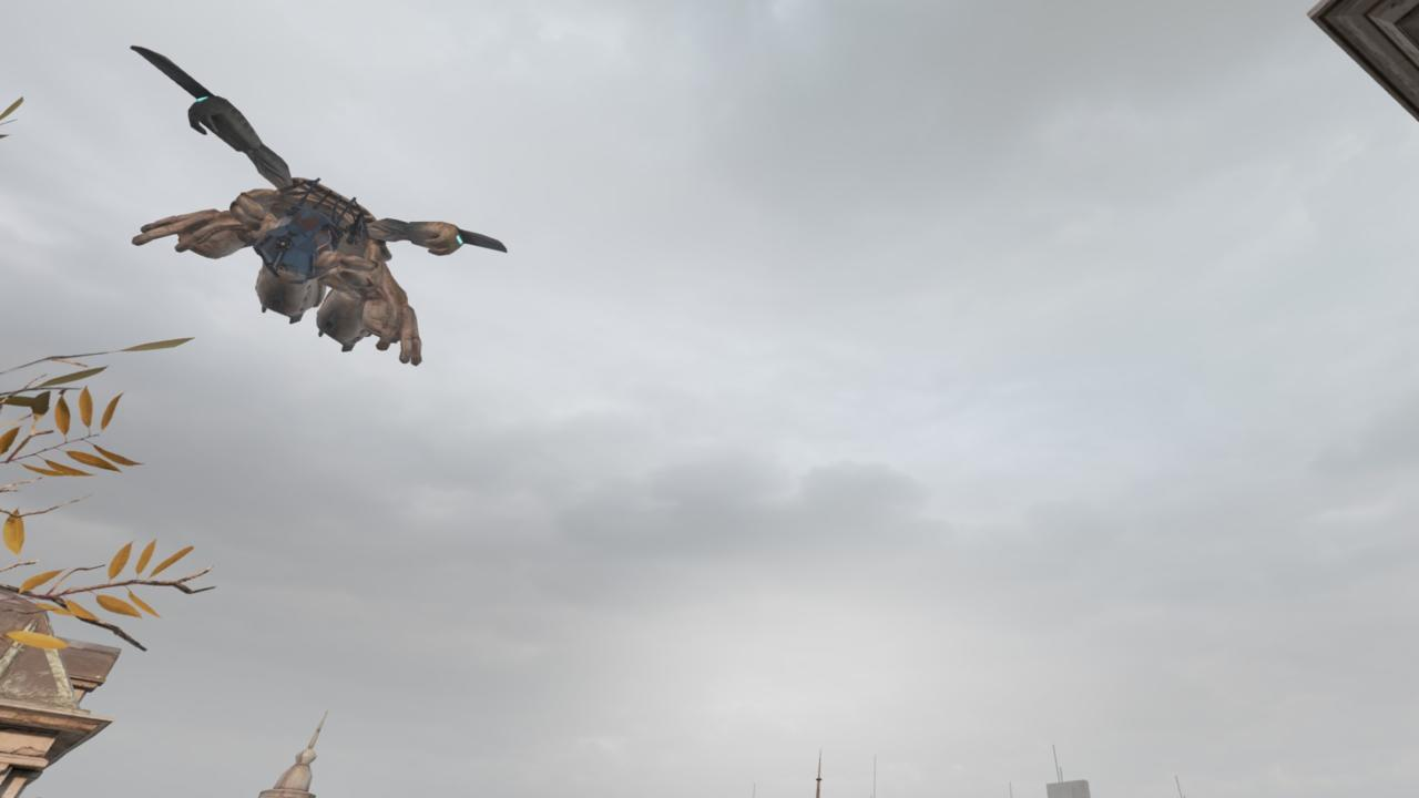 A Combine Dropship zooms overhead.