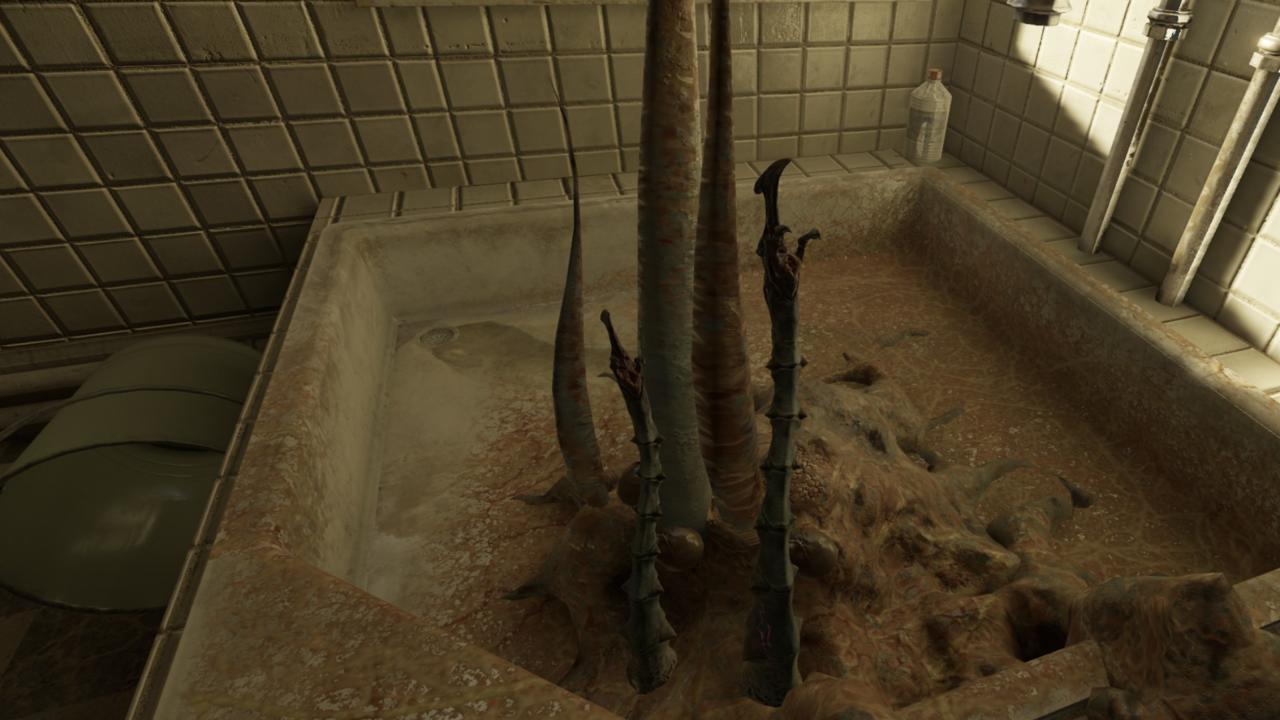 Baby tentacles in a hotel bathtub.