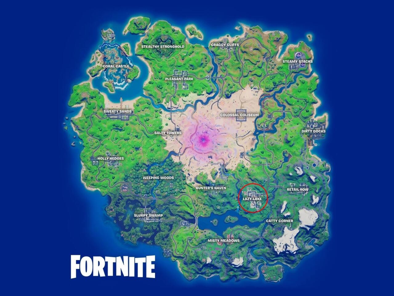 Where to find Lazy Lake in Fortnite.