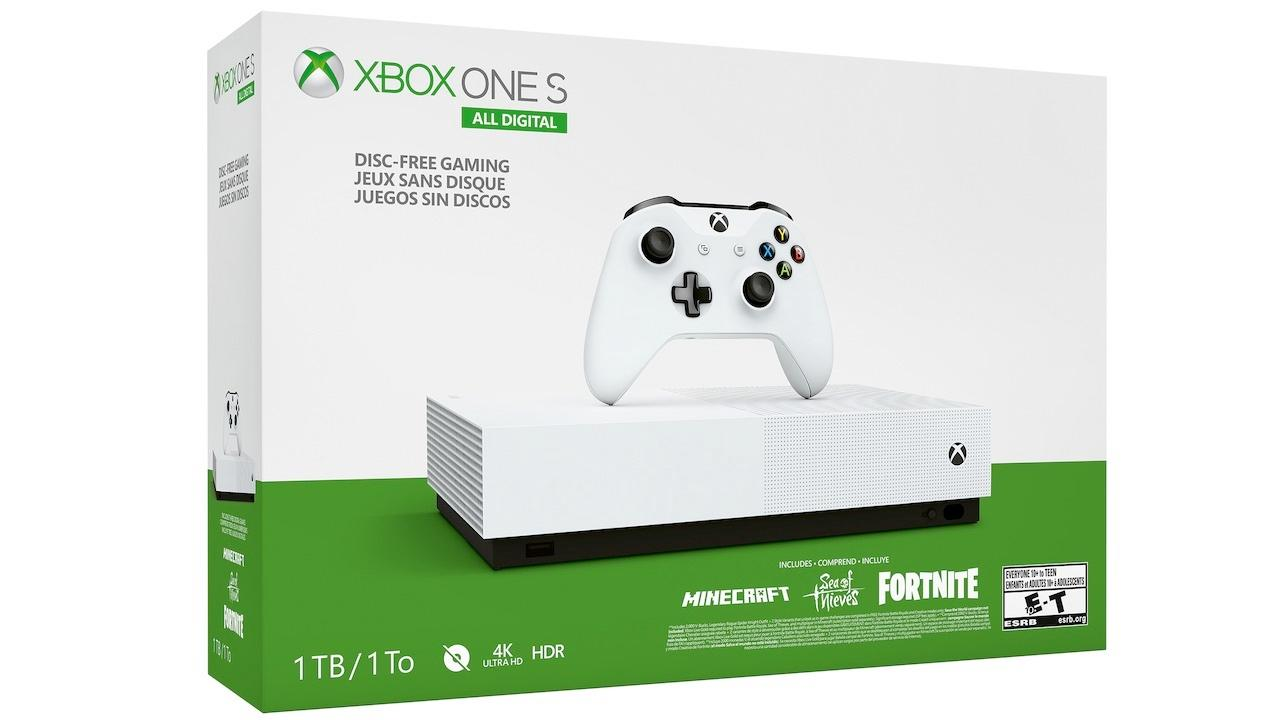 Xbox One S (1TB) All-Digital Edition with Minecraft, Sea of Thieves, and Fortnite DLC   $149