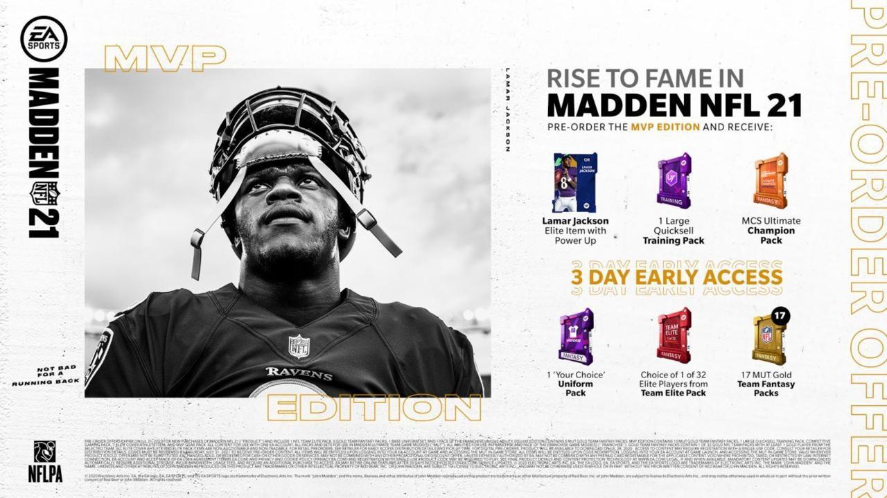 Madden NFL 21 MVP edition pre-order bonuses