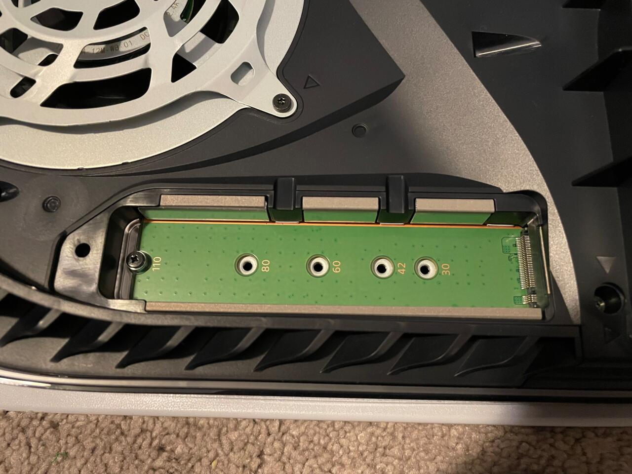 There are five grooves. You need to find the one that matches the length of your SSD.