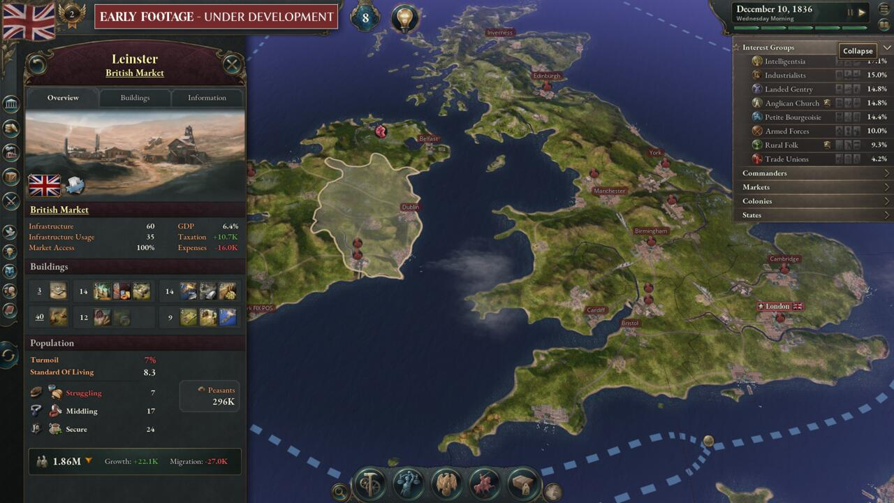 Markets and internal conflict play a huge role in Victoria 3