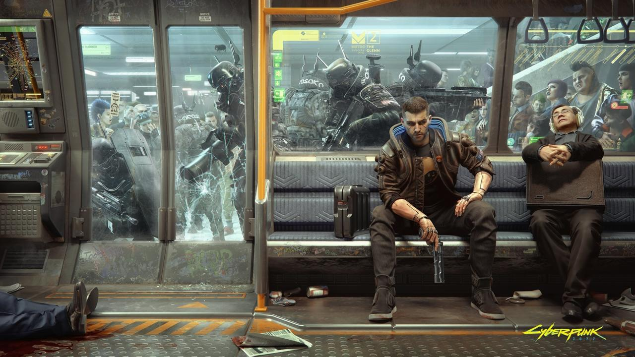 The new Cyberpunk 2077 wallpaper shows the game's protagonist V on the city metro.
