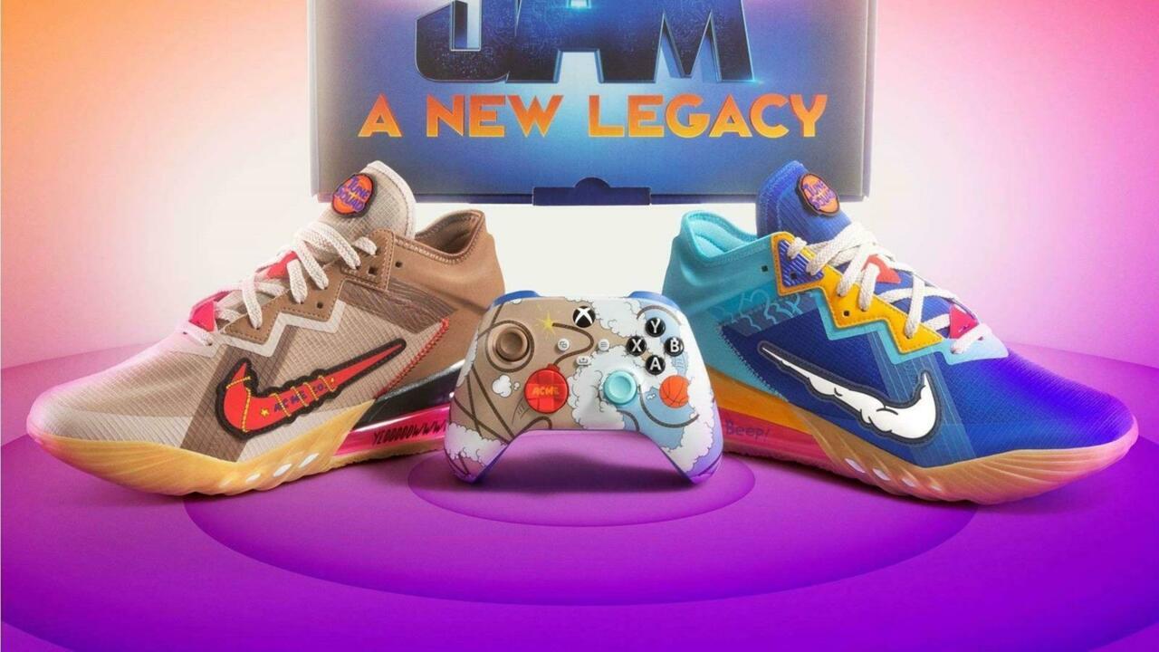 Tênis Space Jam Nike e combinação de controle do Xbox