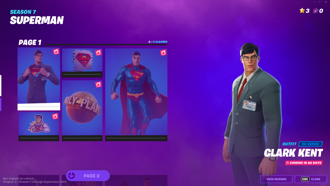 Page one of the Superman Fortnite set