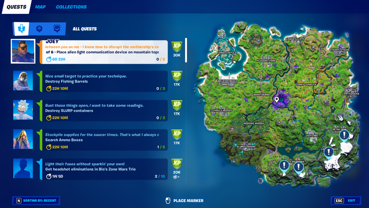 Four snowy mountains in the southeast of Apollo are all you need to complete this Legendary Quest.