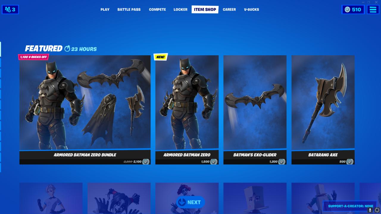 O pacote completo de Armored Batman Zero já está disponível.