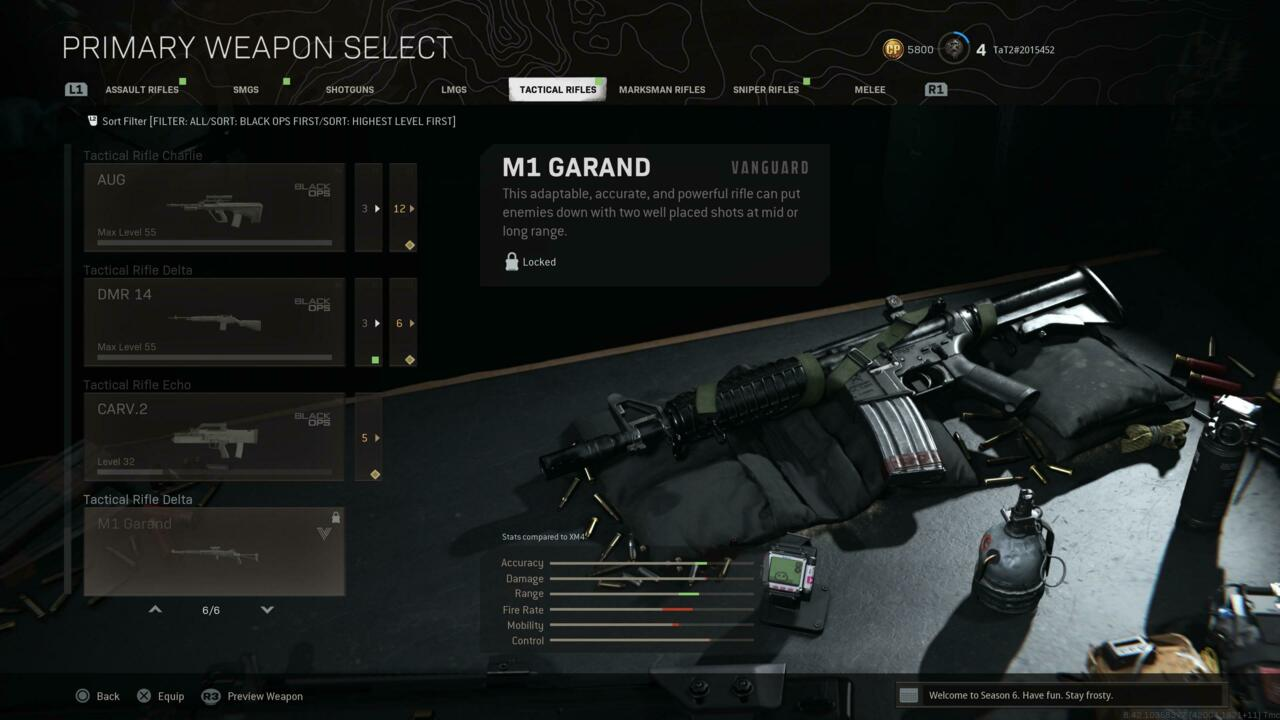 Vanguard's M1 Garand listed in Warzone