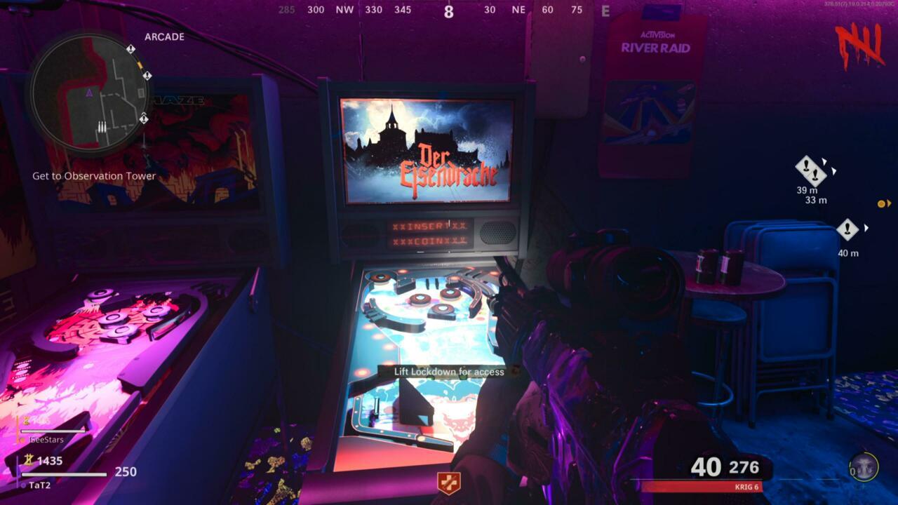 Lift lockdown to access arcade machines