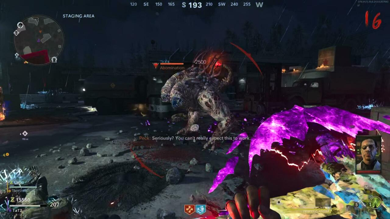 Abomination's tail glowing red after eating the shard