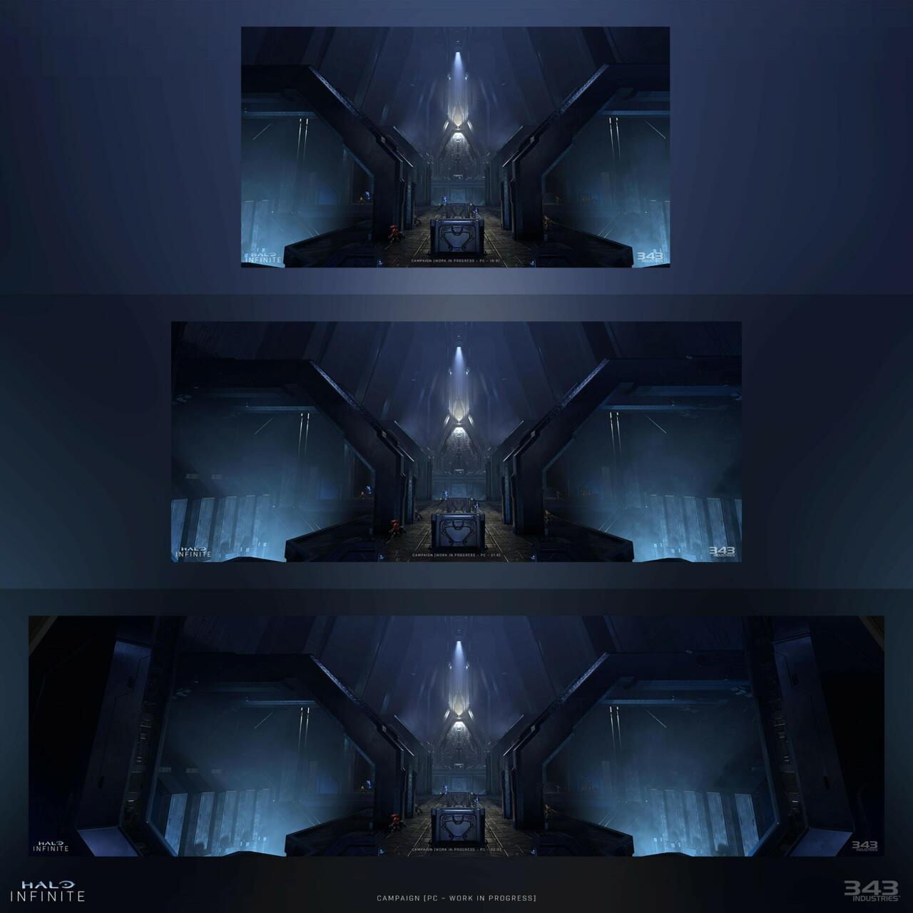 Ultrawide screenshots of a Forerunner building