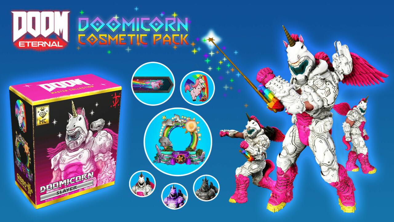 O Doomicorn Cosmetic Pack foi oferecido anteriormente aos assinantes do Twitch Prime gratuitamente